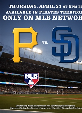 Pirates vs. Padres on Thursday, April 21st