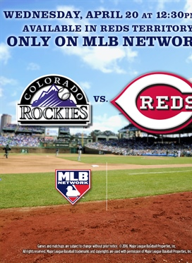 Reds vs. Rockies on Wednesday, April 20th