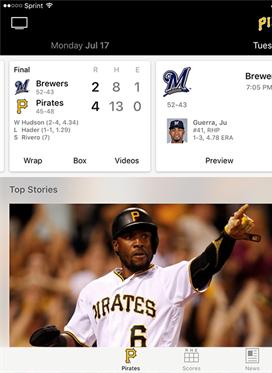 Watch the Pirates LIVE on MLB.com At Bat App!